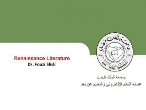 English Literature Renaissance Literature Deanship of ELearning and