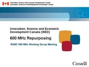 Innovation Science and Economic Development Canada Innovation Sciences
