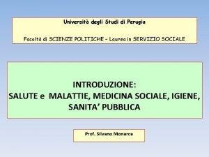 Universit degli Studi di Perugia Facolt di SCIENZE