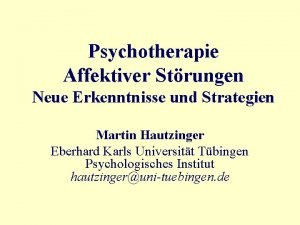 Psychotherapie Affektiver Strungen Neue Erkenntnisse und Strategien Martin