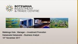 Malebogo Kote Manager Investment Promotion Kebaswele Business Analyst