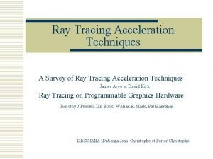 Ray Tracing Acceleration Techniques A Survey of Ray