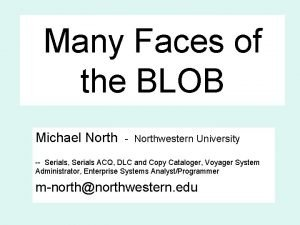 Many Faces of the BLOB Michael North Northwestern