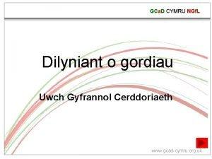 GCa D CYMRU NGf L Dilyniant o gordiau