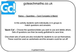 Ratios Quantities Card Complete Match In this activity