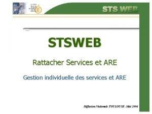 STSWEB Rattacher Services et ARE Gestion individuelle des