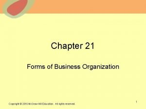 Chapter 21 Forms of Business Organization 2013 The