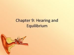 Chapter 9 Hearing and Equilibrium Equilibrium and Hearing