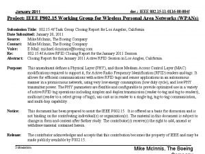 January 2011 doc IEEE 802 15 11 0116