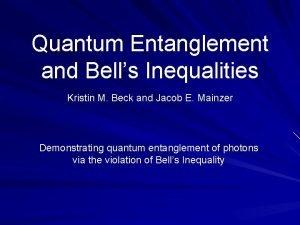 Quantum Entanglement and Bells Inequalities Kristin M Beck