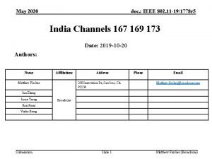 May 2020 doc IEEE 802 11 191778 r