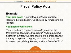 LESSON 21 FISCAL POLICY THE MULTIPLIER EFFECT Fiscal