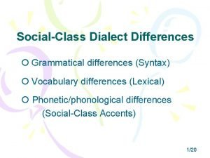 SocialClass Dialect Differences Grammatical differences Syntax Vocabulary differences
