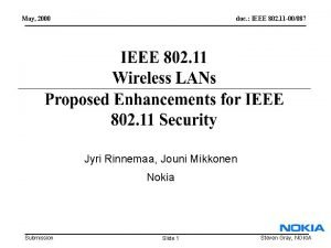 May 2000 doc IEEE 802 11 00087 Jyri