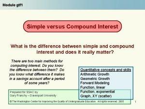 Module gtf 1 Simple versus Compound Interest What