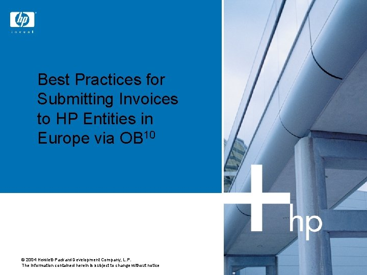 Best Practices for Submitting Invoices to HP Entities