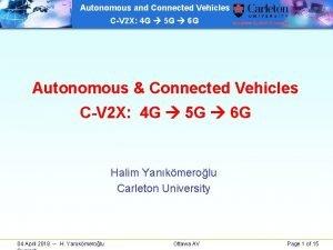 Autonomous and Connected Vehicles CV 2 X 4