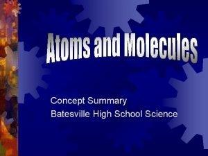Concept Summary Batesville High School Science Atoms Atoms