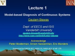 Lecture 1 Modelbased Diagnosis of Continuous Systems Gautam