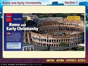 Rome and Early Christianity Section 1 Rome and
