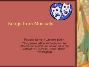 Songs from Musicals Popular Song in Context part