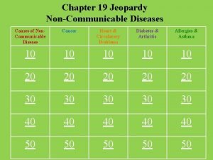 Chapter 19 Jeopardy NonCommunicable Diseases Causes of Non