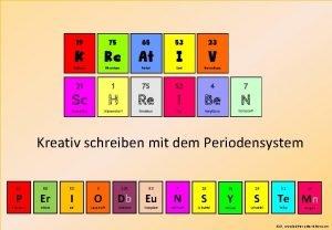 Kreativ schreiben mit dem Periodensystem 15 P Phosphor