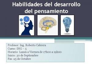 Habilidades del desarrollo del pensamiento Profesor Ing Roberto