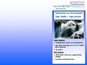 Wasser Strom NESSI Triamare alles was gut tut