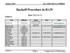 January 2013 doc IEEE 802 11 130080 r