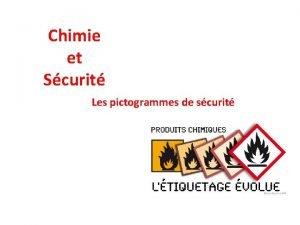 Chimie et Scurit Les pictogrammes de scurit PRODUITS