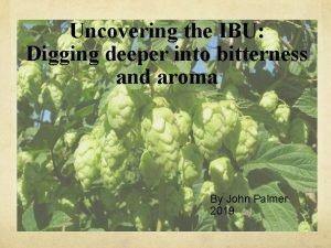 Uncovering the IBU Digging deeper into bitterness and