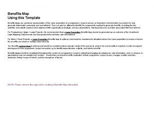 Benefits Map Using this Template Benefits Maps are