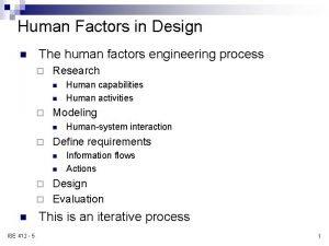 Human Factors in Design n The human factors