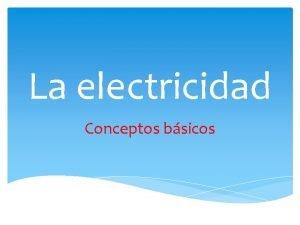 La electricidad Conceptos bsicos Qu es la electricidad