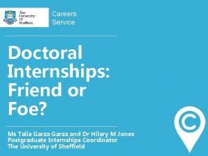 Careers Service Doctoral Internships Friend or Foe Ms