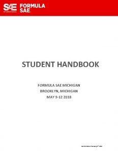 STUDENT HANDBOOK FORMULA SAE MICHIGAN BROOKLYN MICHIGAN MAY