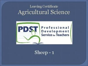 Leaving Certificate Agricultural Science Sheep 1 Learning Outcomes