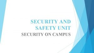 SECURITY AND SAFETY UNIT SECURITY ON CAMPUS SECURITY