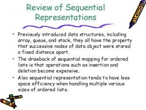Review of Sequential Representations Previously introduced data structures