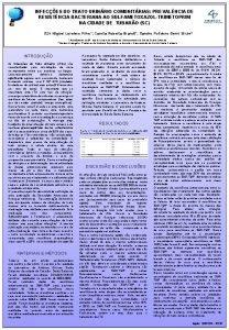 INFECES DO TRATO URINRIO COMUNITRIAS PREVALNCIA DE RESISTNCIA