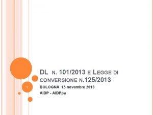 DL 1012013 E LEGGE DI CONVERSIONE N 1252013