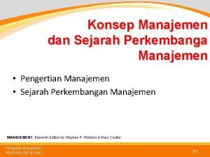 Konsep Manajemen dan Sejarah Perkembanga Manajemen Pengertian Manajemen