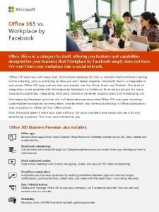 Office 365 vs Workplace by Facebook Office 365
