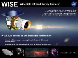 WISE Widefield Infrared Survey Explorer WISE will map