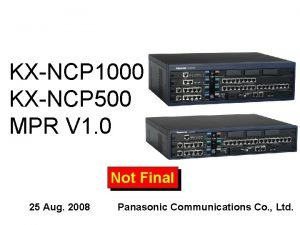 KXNCP 1000 KXNCP 500 MPR V 1 0