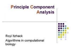 Principle Component Analysis Royi Itzhack Algorithms in computational