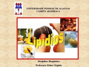 UNIVERSIDADE FEDERAL DE ALAGOAS CAMPUS ARAPIRACA Disciplina Bioqumica
