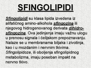 SFINGOLIPIDI Sfingolipidi su klasa lipida izvedena iz alifatinog