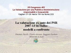 XII Congresso AIV La Valutazione per una Pubblica